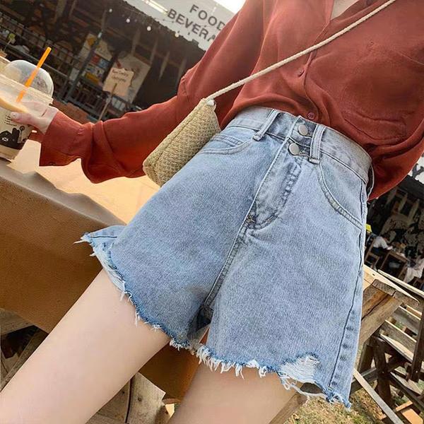 C25 Jeans Shorts Donna vita alta Slim Un bordo peloso a gamba larga Versione coreana irregolare di Chao 2019 Nuova calzamaglia calda