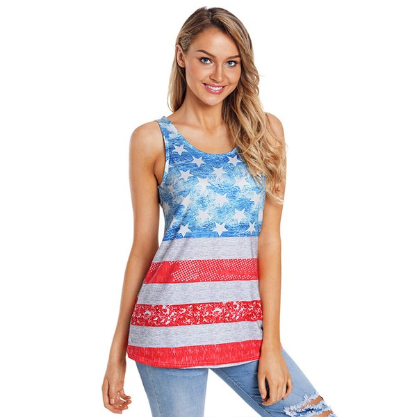 July 4th Party US Flag Print Patchwork Tank Tops for Women Kawaii Ladies Summer Casual America USA Flag Printed Tank Top