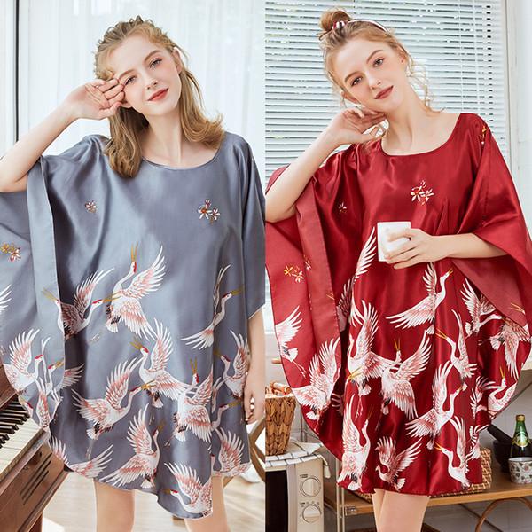 2019 Nightgowns sleepshirts Silk-like Pajamas Ms. Bat sleeve Nightgown Female Summer Home Service onesie pyjamas women
