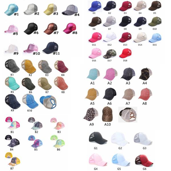 top popular Washed Ponytail Baseball Cap Messy Buns Hats Washed Cotton Unisex Visor Cap Hat Outdoor Snapbacks Caps GGA3506 2021