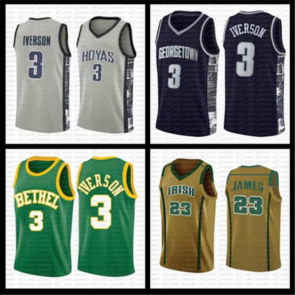 top popular mens 3 Allen 3 Iverson LeBron 23 James 23 Michael 13 Harden Georgetown NCAA Basketball Jersey University curry 2020