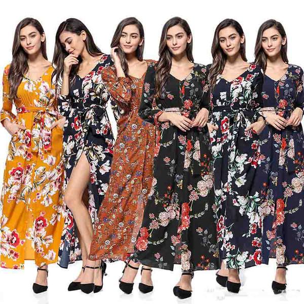 Yaz Kadın Şifon Maxi elbise V boyun Bölünmüş Çiçek Şakayık Baskı elbiseler Dokuzuncu kollu Butik Çin kadın giyim üreticisi 2019 Sıcak