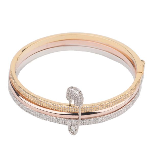 Venta caliente de la joyería de moda de tres colores pin pulsera con pulsera extraíble de la personalidad de la boca móvil joyería al por mayor