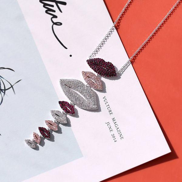 Diseñador Labios Collar Mujeres Joyería de Boda Bling Cubic Zirconia Diamante Rojo Labios Colgante Collar 2019 Nuevos Accesorios de Moda