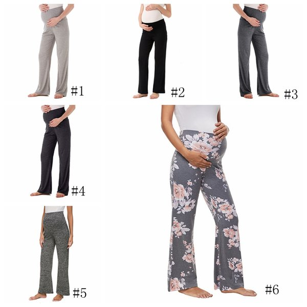 Maternité Pantalon large imprimé floral Femmes Pantalons taille haute Pantalon droit Yoga travail Planète grossesse Pantalon 6styles GGA2758