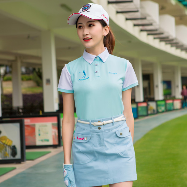 2019 Golf Shirts For Women Summer Outdoor Sport Clothes Breathable Soft Shirt Short Sleeve Quick-Dry Golf Apparel D0697