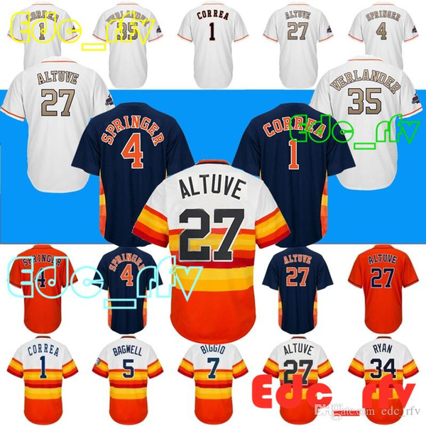pretty nice 728e7 91a1f 2018 Houston Astros Jerseys 27 Jose Altuv Jerseys 34 Nolan Ryan Jerseys 1  Carlos Correa 4 George Springer7 Craig Biggio From Edc_rfv, $23.14 | ...