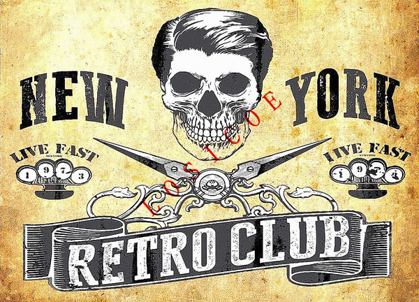 NEW YORK RETRO CLUB Retro Tattoos Patterned Posters Kraft paper Interior Painting Wall Sticker restoring Wall Sticker Barber shop Wall decor
