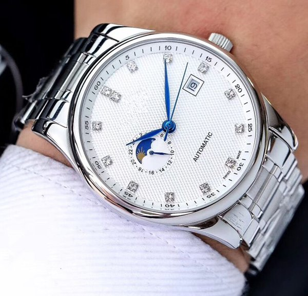 mens designer watches 8215 automatic mechanical movement Sapphire mirror Auto date Real moon phase 24 hours display Silver white steel belt