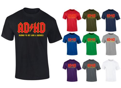 Mens ADHD Highway To Hey Look Un écureuil drôle T-shirt S-XXL Drôle expédition gratuite Unisexe Casual