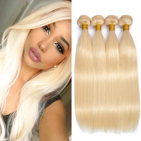 Couturière Cheveux Raides Péruviens 613 Bundles Longueur Mixte Total 400g 100% Blond Cheveux Blonds 4 Bundles Extensions de Trame Droite