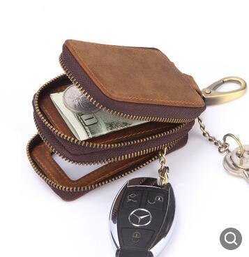 wholesale New Arrival Genuine Leather Men Car Key Holders Housekeeper Multifunctional Double Zipper Square Home Key Case Women Key Wallet