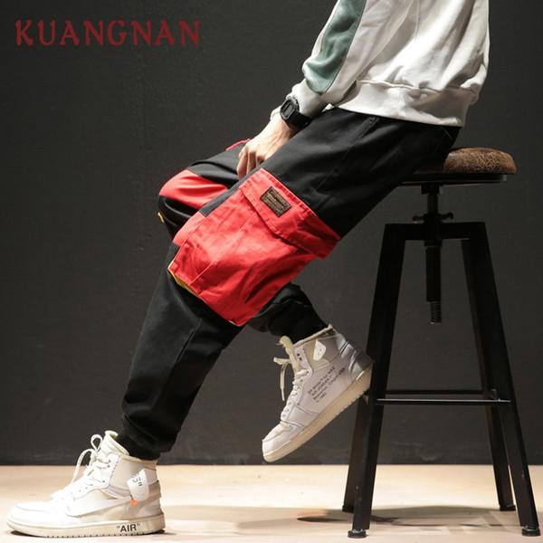 KUANGNAN Loose Cargo Pants Men Joggers Hip Hop Sweatpants Men Pants Clothing 2018 Japanese Streetwear Casual 5XL