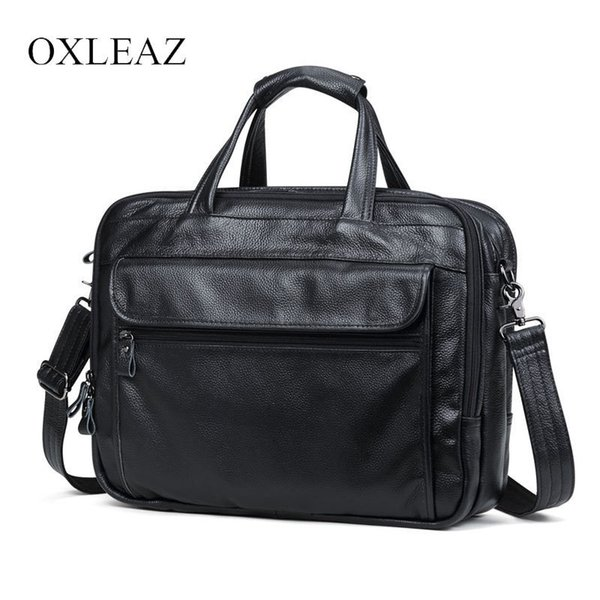 "Oxleaz Brand 15"" Men Business Bags Men Laptop Briefcase Male Genuine Leather Computer Work Bag Large Vintage Handbags For Man J190629"