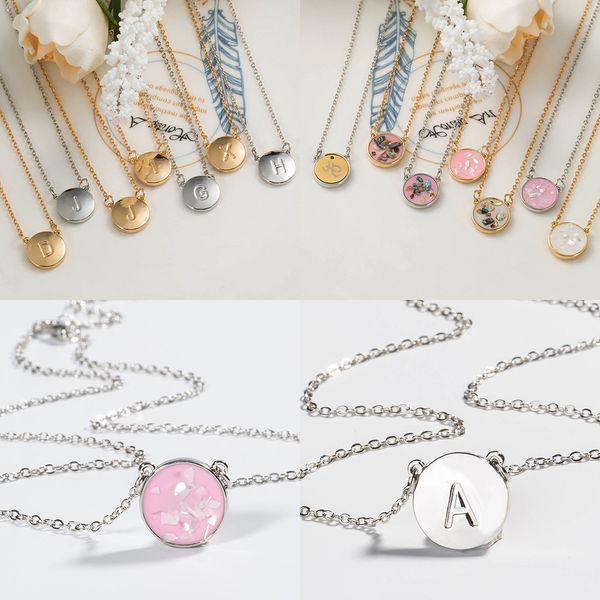 26 İngiliz İlk kolye Çift Yan Gümüş Altın zincirleri Shell İngilizce Mektup Kolye kolye tasarımcı kolye kadın tasarımcı takı