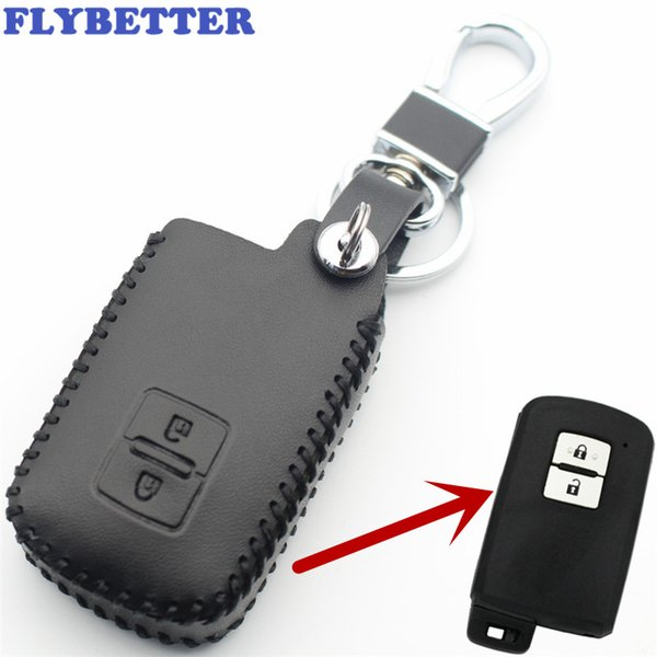 FLYBETTER Genuine Leather 2Button Keyless Entry Smart Key Case Cover For Toyota Camry/Crown/Land Cruiser Car Styling L2103