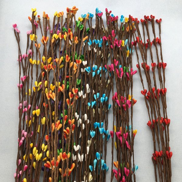 40cm 100/lot artificial berry flower vine stem for canes bracelet crown floral arrangement crafts decoration material DIY wreath