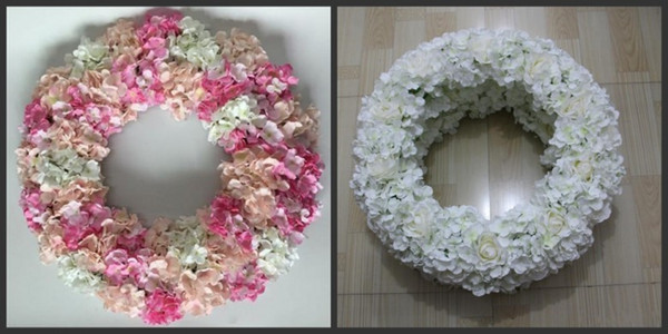 Table centerpiece flower ring wreath wedding road lead artificial silk rose Wedding arch square pavilion corners decorative