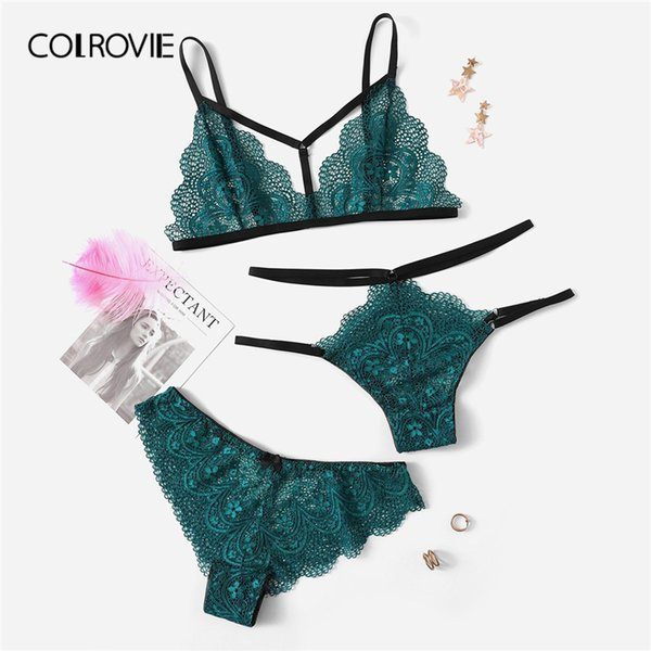 COLROVIE Green Harness Detail Floral Lace Lingerie Set 3 Pack 2019 Wireless Bra Set With Thongs And V-Strings Women Intimates