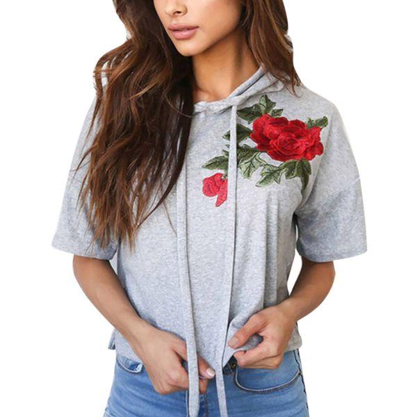 Women Girls Short Sleeve Flower Embroidery Hoodie Sweatshirt Casual Drawstring Loose Hooded Coat Pullover White Pink Gray