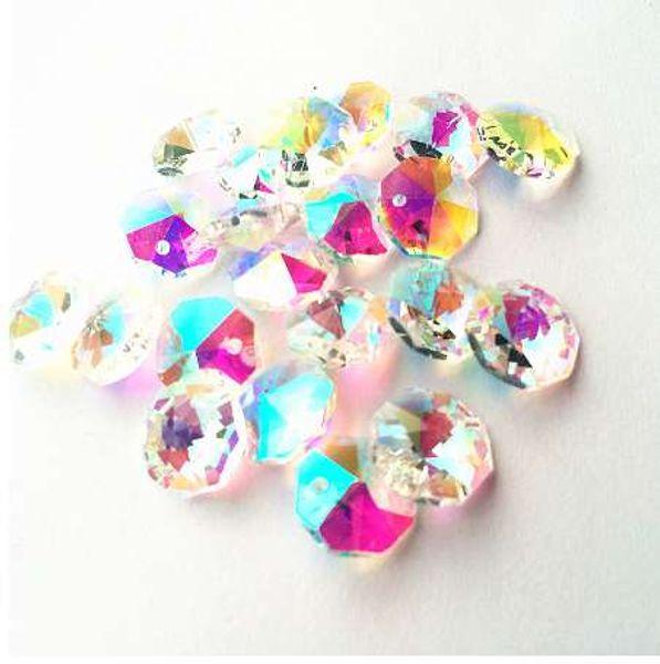 Envío gratis 100 unids Rainbow 14 mm Crystal Glass Octagon Chandelier Parte Beads en 1 agujeros para Diy Garland Strands decoración del hogar