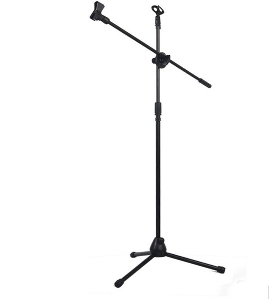 Microphone Stand Tripod Boom Mic Stands with 2 Mic Clip Holders Adjustable Collapsible Black