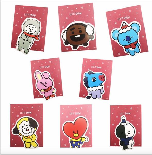 40pcs/lot free bts bt21 gift card/greeting card