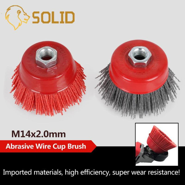 "1/2pcs 4"" cup nylon abrasive brush wheel m14 x 3inch p80 pile polymer-abrasive for angle grinder tool 80/120#"
