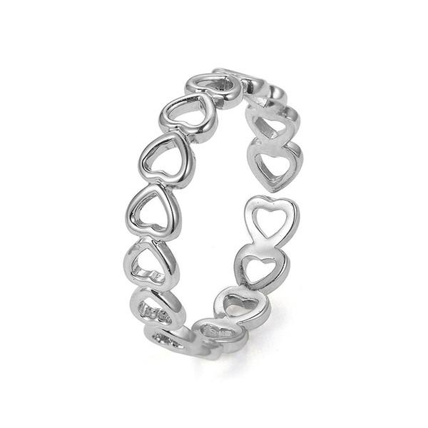 Oro Argento Colore Hollowed-out a forma di cuore Anello aperto Design Carino moda amore gioielli donna ragazza bambino regalo regolabile