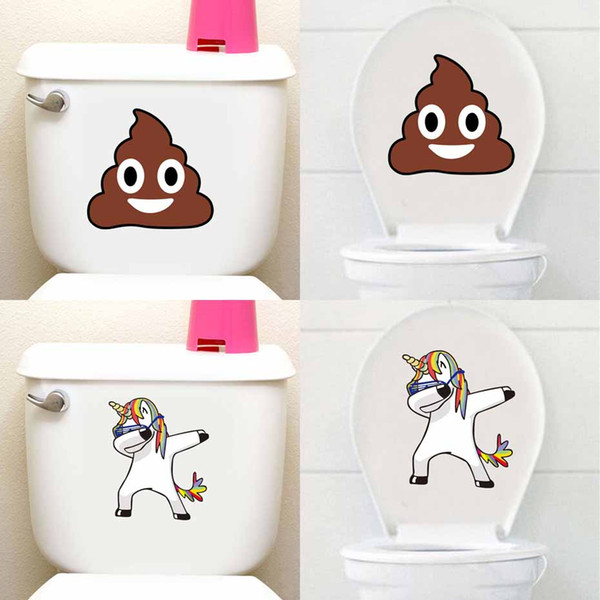 Cartoon Stool Cute Horse Toilet Seat  Sticker Waterproof Removable Decals For Bathroom Toilet Diy Home Decor