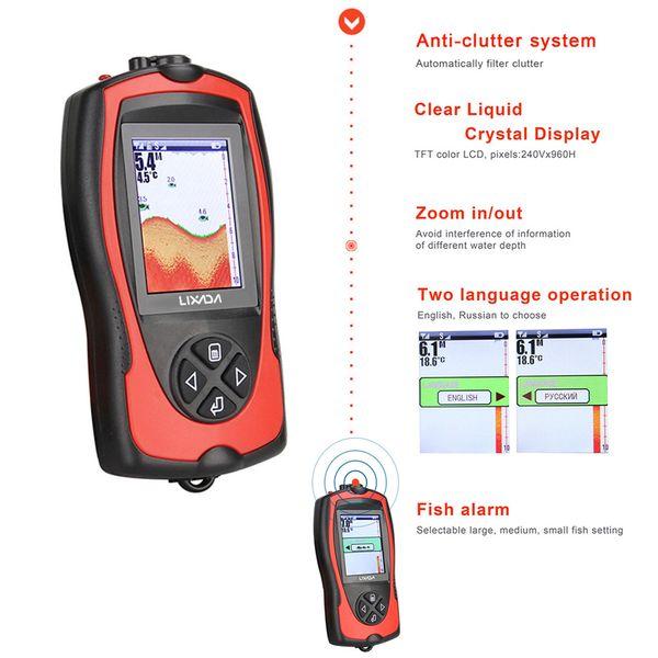 Lixada Portable 2-in-1 Rechargeable 2.4inch LCD WirelessSonar Depth Waterproof Fishfinder Transducer ICE/Ocean/Boat Alarm Fish Finder sonar
