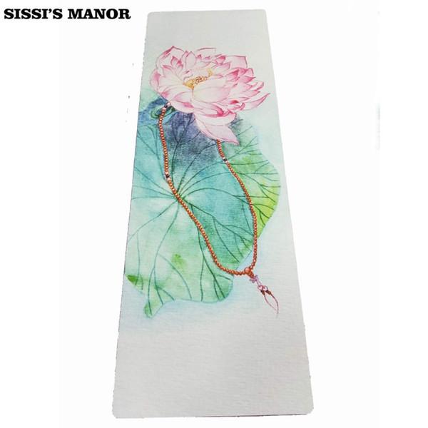 Dobrável de borracha natural yoga mat eco-friendly antiderrapante hot yoga melhor mat para hot fitness gym lotus folhas