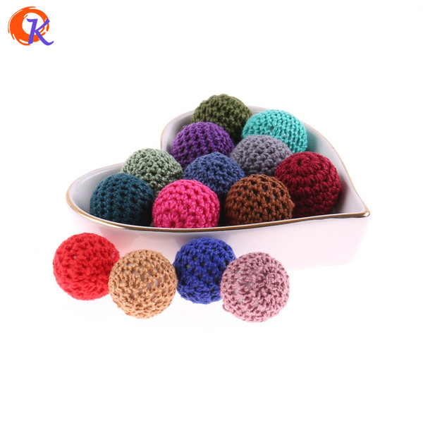 wholesale 50Pcs 20mm Baby Teether Crochet Beads Free Diy Baby Nursing Teething Necklace Beads Hand Made Beads For Baby