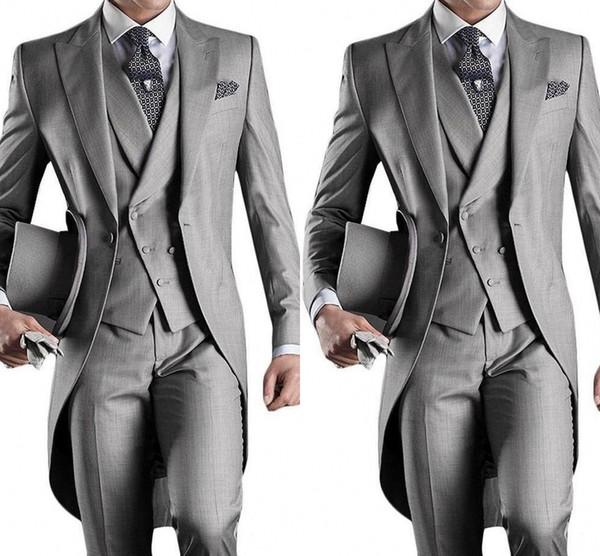 Nouveau costume slim matin smokings marié costume revers hommes bleu marine garçon d'honneur / meilleur mariage mariage / costumes de bal (veste + pantalon + gilet) HY6019