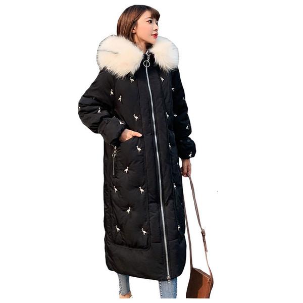 Escudo elegante encapuchada de la piel abajo cubren invierno chaqueta larga caliente mujeres de algodón acolchado Wadded Parkas de la grúa bordada femenina Y190918 chaqueta