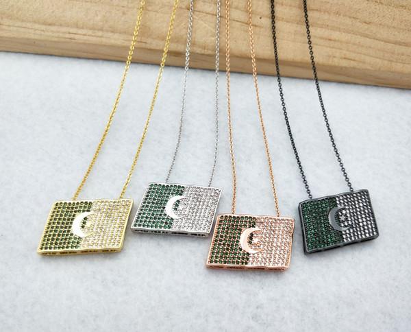 Drapeau du monde Micro Pave Cristal Cubic Zircon Pendentifs Charms Bijoux Trouver, Algérie drapeau Collier pour femme NK342