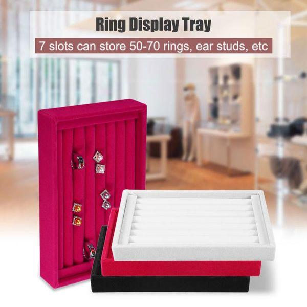 Portable Velvet Jewelry Ring Earring Insert Display Cufflinks Organizer Box Wooden Flat Stackable Tray Holder Storage Showcase