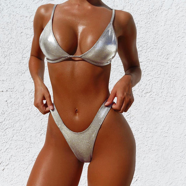 Серебро с высоким вырезом 2019 новый купальный костюм женский купальник V снизу сексуальный женский купальник пуш-ап купальники блестящий спортивный стиль бикини