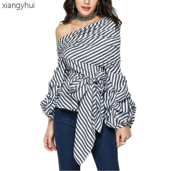 Club Sexy Black and White Striped Shirt Women Fashion Lantern Sleeve Off Shoulder Party Blouses Casual Bowknot Tops Shirt 2019