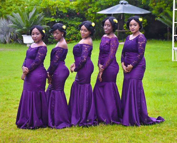 Violet hors l'épaule sirène sirène longues robes de demoiselle d'honneur 2019 africain dentelle Top formelle partie mariage invité demoiselle d'honneur robes BM0922