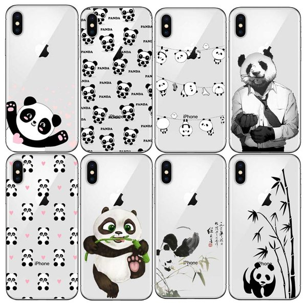 Funny Cartoon Panda Phone Case Soft TPU silicone Cover Coque For iPhone 6 6s Plus 7 8 Plus Love Heart Cases For iPhone X