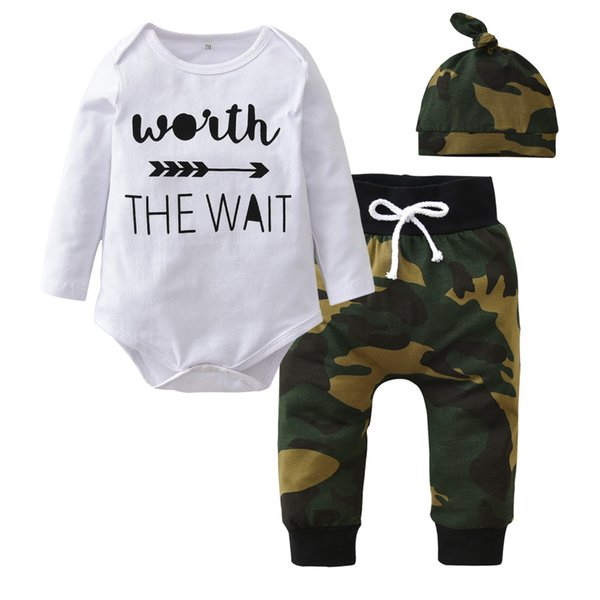 New 2019 Autumn Newborn Baby Boys Girls Clothes Long sleeve Letter Romper Tops+Army Green Pants+Hat Toddler Infant Clothing Set