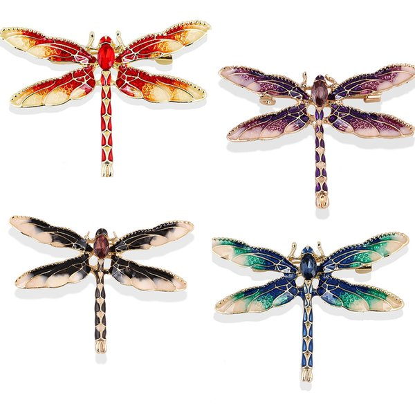 50pcs/New a lot fashion color diamond dragonfly brooch crystal dragonfly brooch drop of oil blending