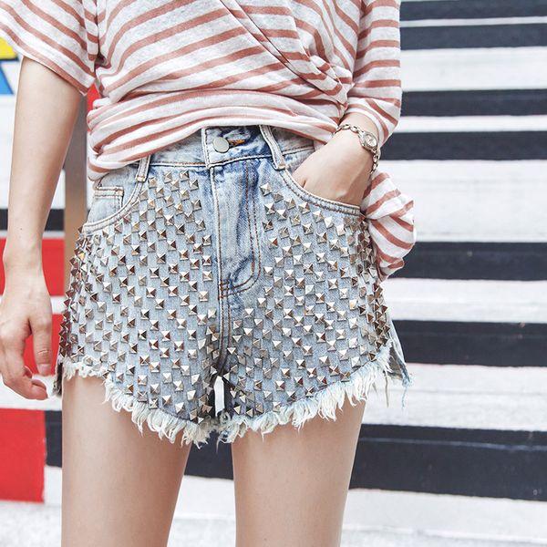 Denim Shorts 2019 New Summer Women's Fashion Brand Vintage Loose High Waist Sexy Rivet Frayed Short Jeans Plus Size