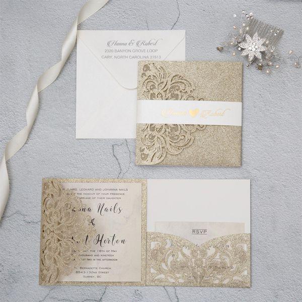 New 2019 Wedding Invitation Card Hollow Solid Gold Glitter Invitations Pocket Square Laser Cut Invitations Cards Q74 Great Wedding Invitations