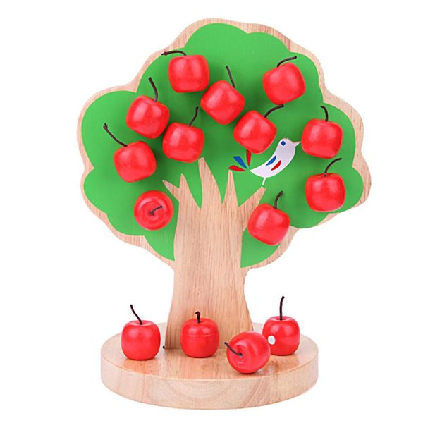 Building Block Wooden Magnetic Apple Tree Toy Learning Math Puzzle Kindergarten Teaching Aid Kids Early Educational Toy Gifts