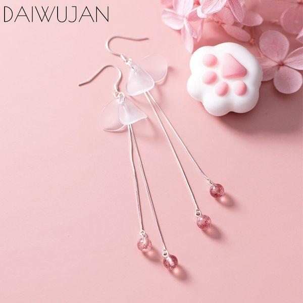 daiwujan korean real 925 sterling silver petal moonstone long tassel drop dangle earrings for women temperament jewelry gift