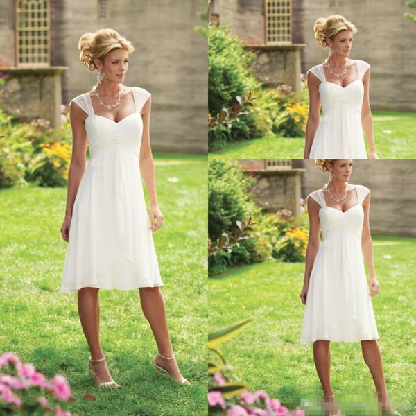 2019 Barato Na Altura Do Joelho Vestidos de Casamento A Linha Curto Chiffon Querida Correias Cap Mangas Branco Plissados País Vestidos de Noiva Do Casamento De Praia