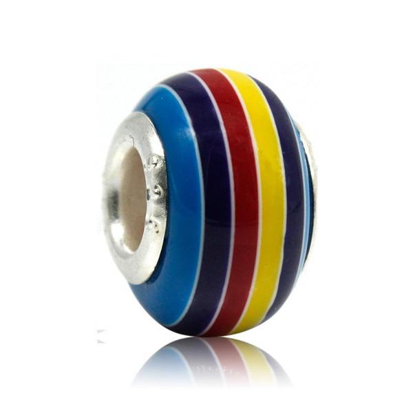 DIY Murano Cam Lampwork Boncuk Big Hole Gökkuşağı Stripes Pandora Avrupa Charm Bilezikler için Gümüş Çekirdek Gevşek Boncuk