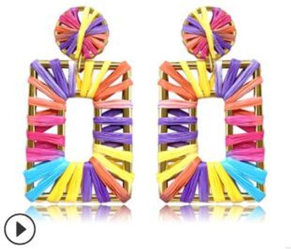 Tejido a mano pendientes geométricos de moda de color bohemio grandes pendientes largos letra c pendiente para el día de fiesta de bodas regalos de cumpleaños 997
